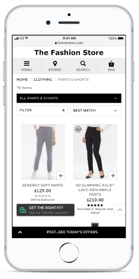Tailored ecommerce
