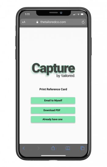Tailored reference card download